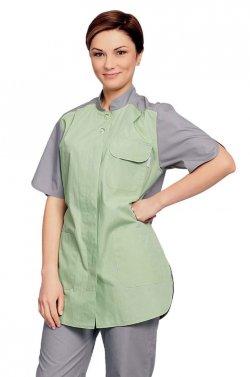 685e1288cfc9 Медицинский костюм брючный серый с салатовым ТОР591-304