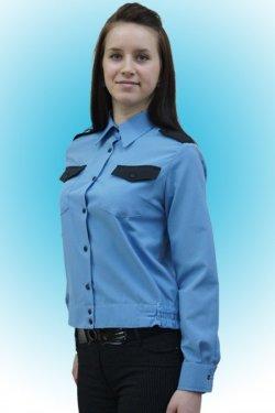 58fed67a6db Рубашка охранника женская голубая с черной отделкой длинный рукав КН-РУБЖ1